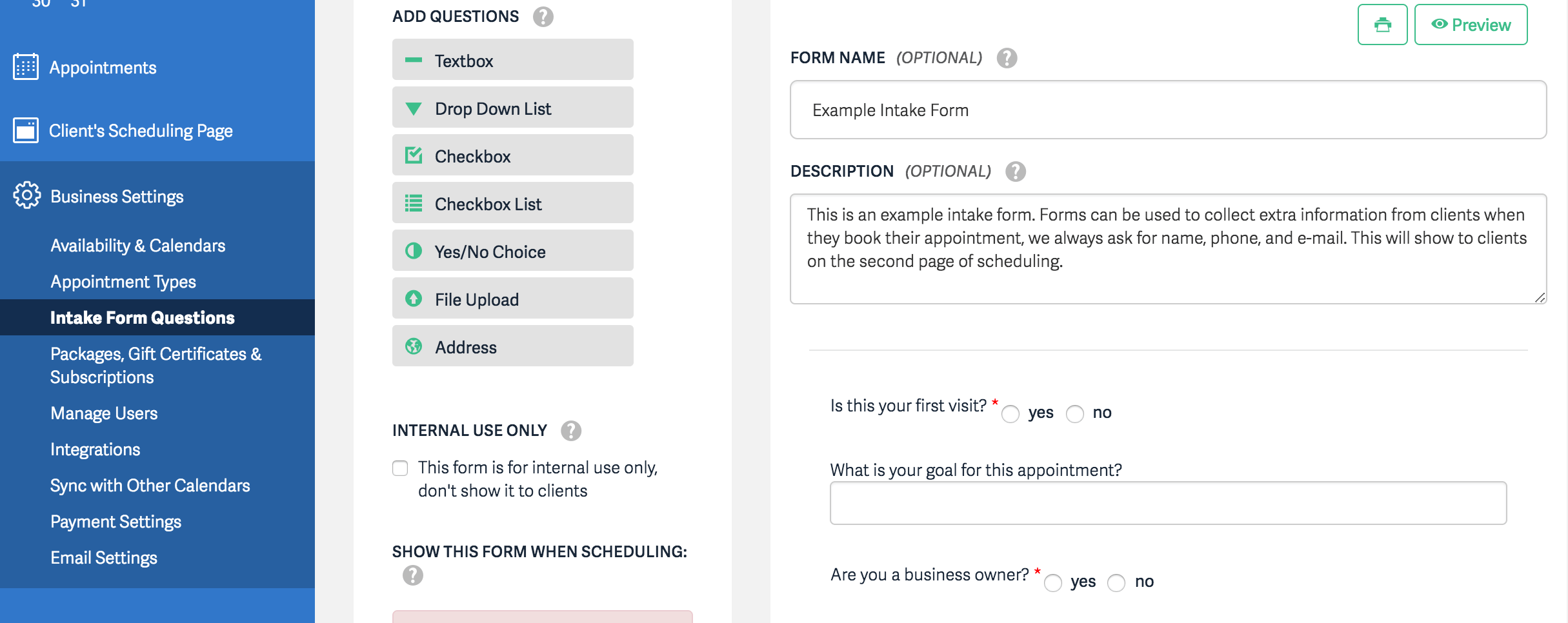 Acuity Scheduling Intake Form questions